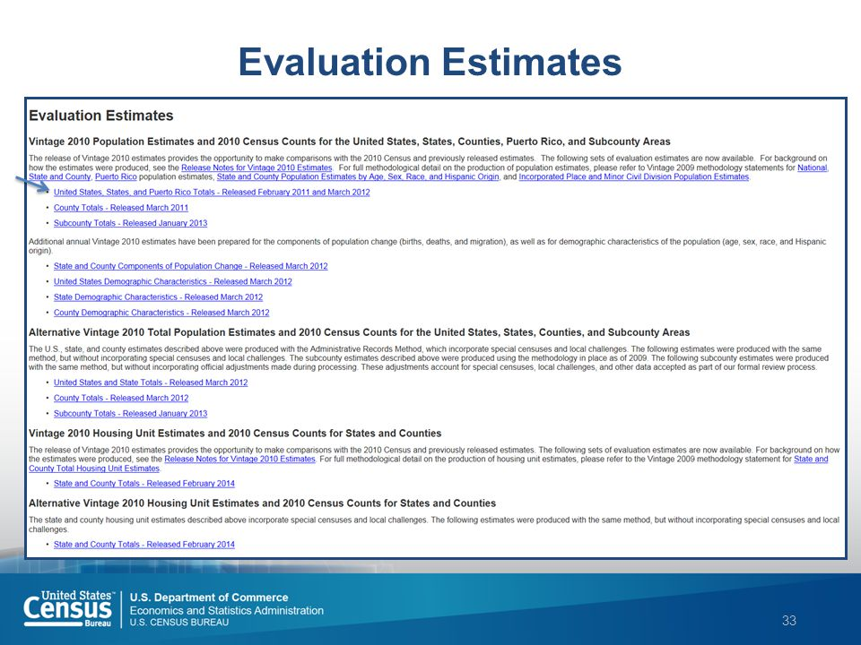 33 Evaluation Estimates