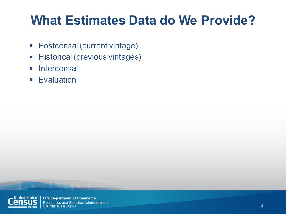 4 What Estimates Data do We Provide.