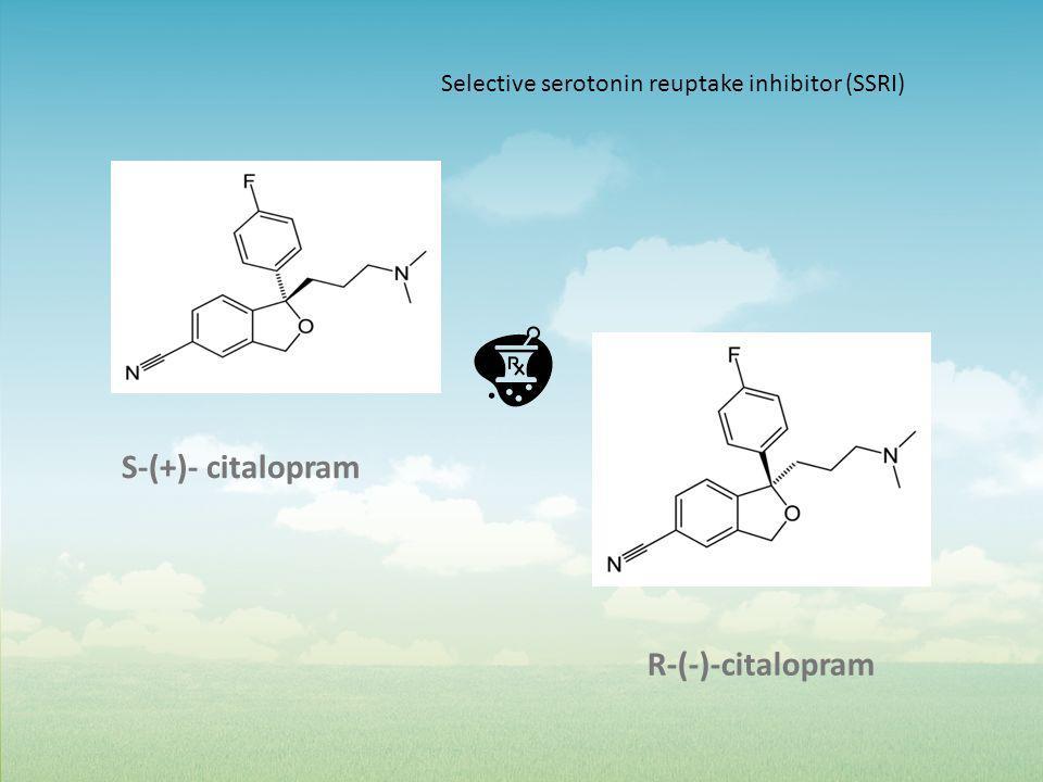 S-(+)- citalopram R-(-)-citalopram Selective serotonin reuptake inhibitor (SSRI)
