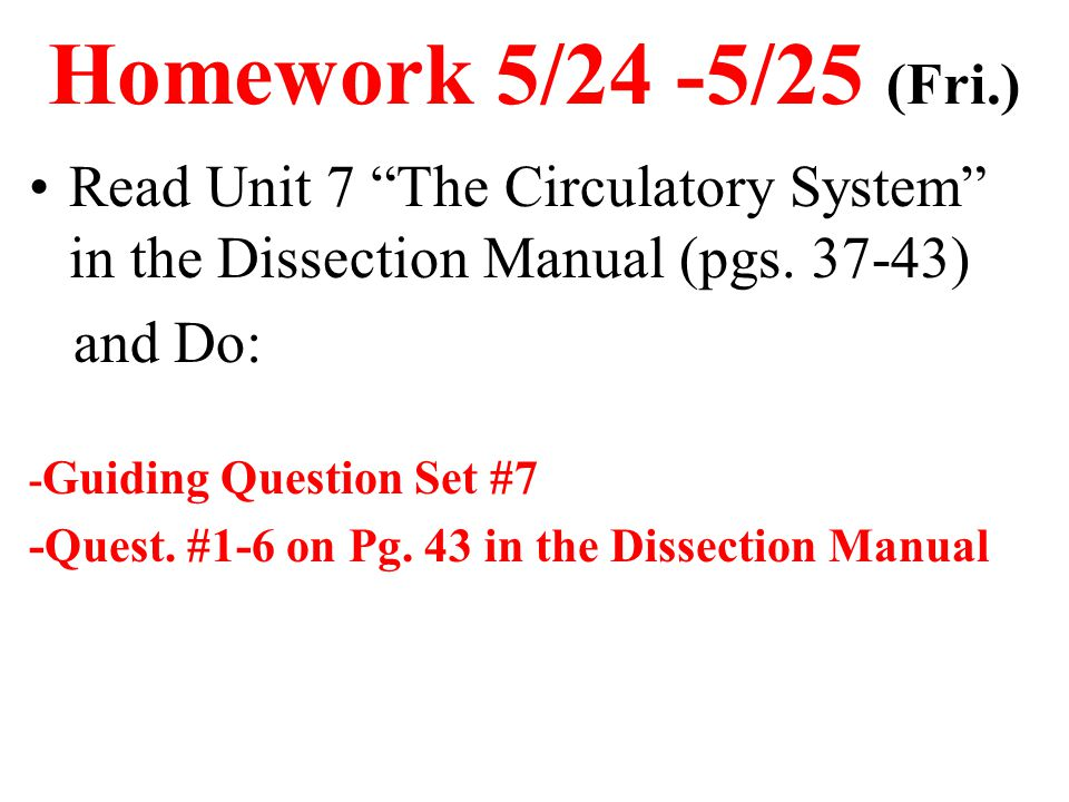 """Homework 5/24 -5/25 (Fri.) Read Unit 7 """"The Circulatory System"""" in the Dissection Manual (pgs. 37-43) and Do: - Guiding Question Set #7 -Quest. #1-6 o"""
