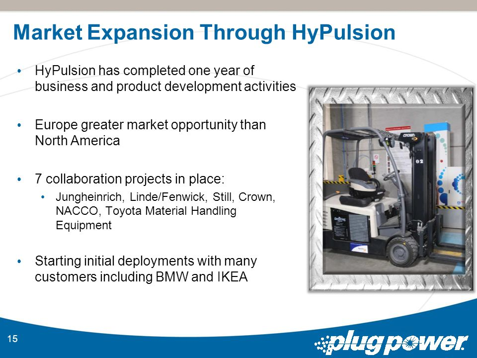 Market Expansion Through HyPulsion 15 HyPulsion has completed one year of business and product development activities Europe greater market opportunity than North America 7 collaboration projects in place: Jungheinrich, Linde/Fenwick, Still, Crown, NACCO, Toyota Material Handling Equipment Starting initial deployments with many customers including BMW and IKEA