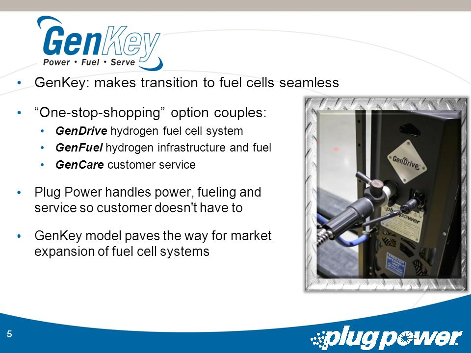 5 GenKey: makes transition to fuel cells seamless One-stop-shopping option couples: GenDrive hydrogen fuel cell system GenFuel hydrogen infrastructure and fuel GenCare customer service Plug Power handles power, fueling and service so customer doesn t have to GenKey model paves the way for market expansion of fuel cell systems