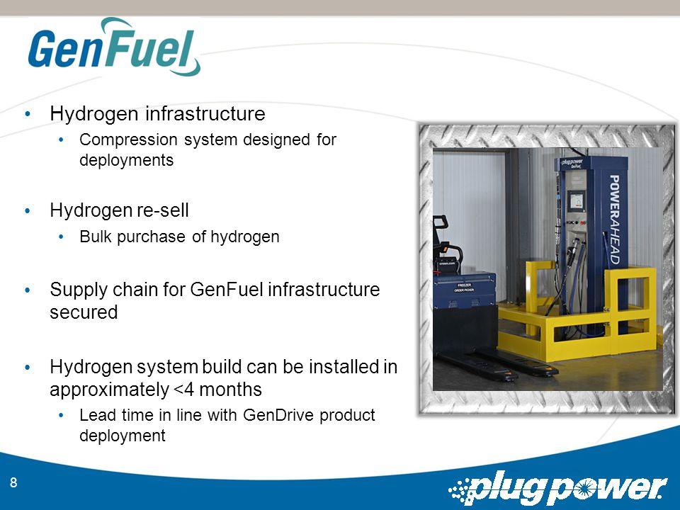 8 Hydrogen infrastructure Compression system designed for deployments Hydrogen re-sell Bulk purchase of hydrogen Supply chain for GenFuel infrastructure secured Hydrogen system build can be installed in approximately <4 months Lead time in line with GenDrive product deployment