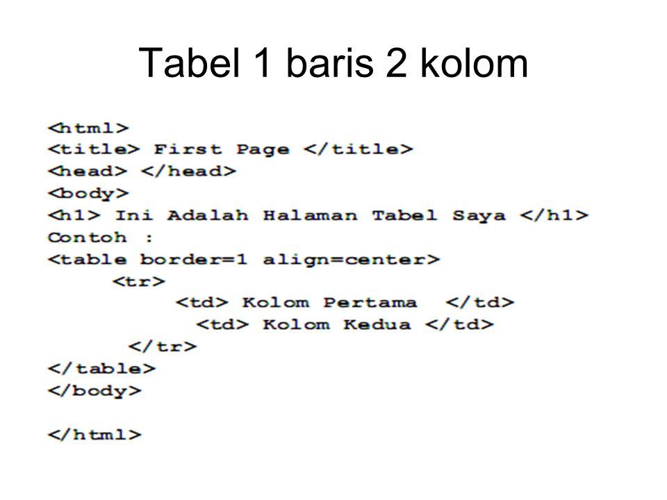 Tabel 1 baris 2 kolom