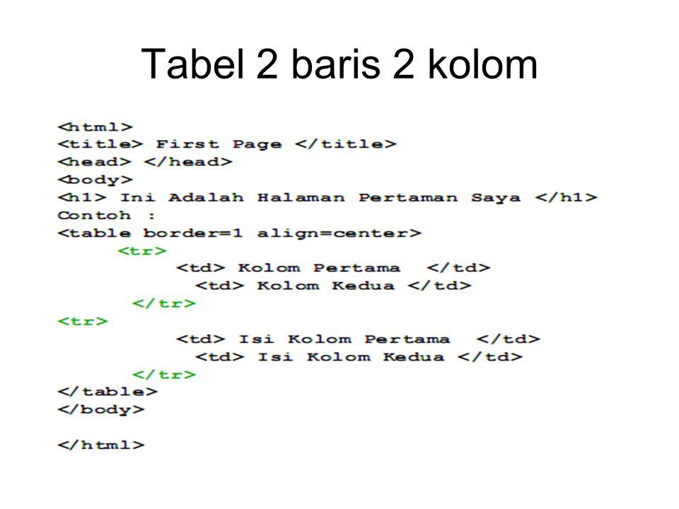 Tabel 2 baris 2 kolom