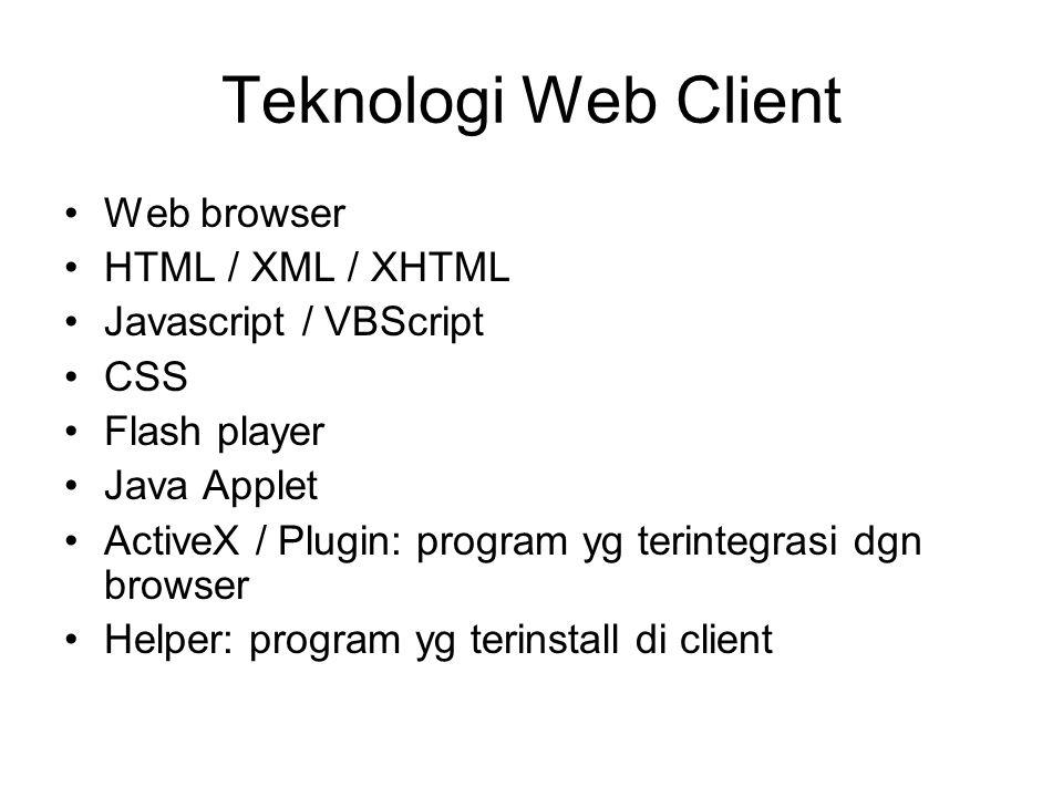 Teknologi Web Client Web browser HTML / XML / XHTML Javascript / VBScript CSS Flash player Java Applet ActiveX / Plugin: program yg terintegrasi dgn browser Helper: program yg terinstall di client