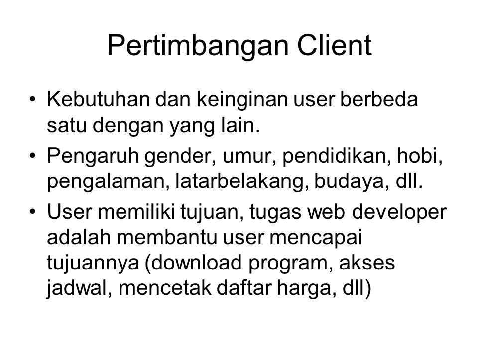 Pertimbangan Client Kebutuhan dan keinginan user berbeda satu dengan yang lain.