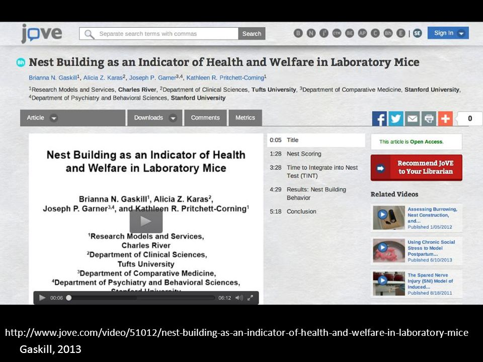 http://www.jove.com/video/51012/nest-building-as-an-indicator-of-health-and-welfare-in-laboratory-mice Gaskill, 2013