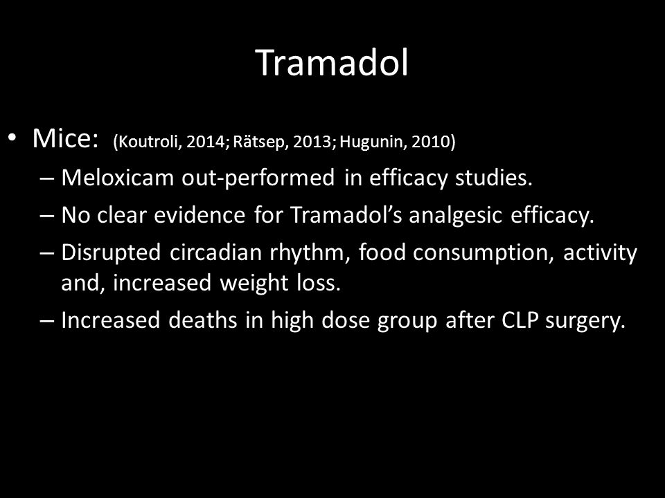 Tramadol Mice: (Koutroli, 2014; Rätsep, 2013; Hugunin, 2010) – Meloxicam out-performed in efficacy studies. – No clear evidence for Tramadol's analges