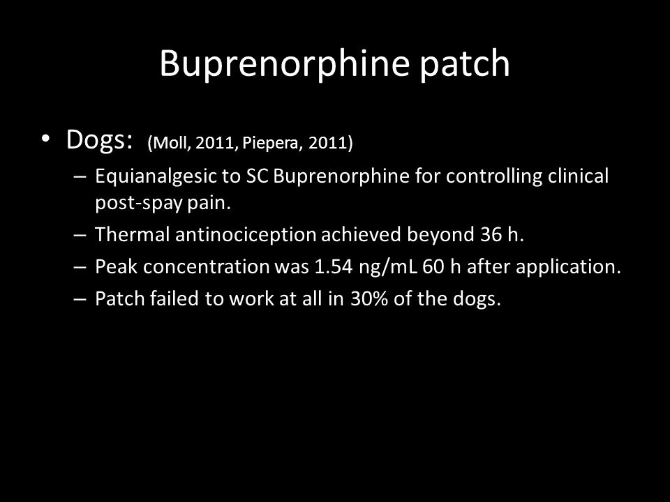 Buprenorphine patch Dogs: (Moll, 2011, Piepera, 2011) – Equianalgesic to SC Buprenorphine for controlling clinical post-spay pain. – Thermal antinocic