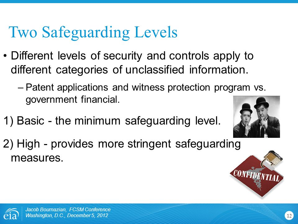 Two Safeguarding Levels Jacob Bournazian, FCSM Conference Washington, D.C., December 5, 2012 12 Different levels of security and controls apply to dif
