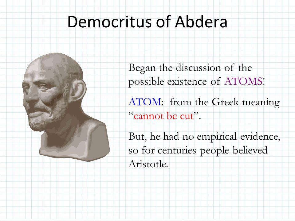 Democritus Ideas Matter is composed of empty space through which atoms move.
