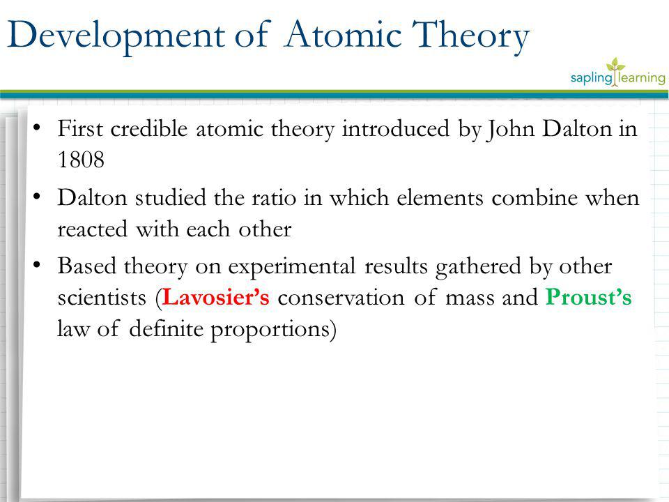 Dalton's Postulates – Elements are made of small and indivisible particles called atoms – Atoms of a given element are identical to one another but differ from atoms of other elements – Chemical reactions occur when atoms are combined, separated, or rearranged in simplified whole-number ratios – Atoms are neither created nor destroyed in chemical reactions Shortcomings of Dalton's Postulates – Atoms of an element can have masses that differ slightly – Atoms can be divided into subatomic particles Dalton's Experimental Theory