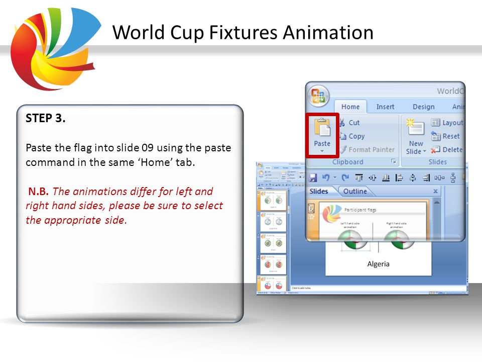 World Cup Fixtures Animation STEP 4.