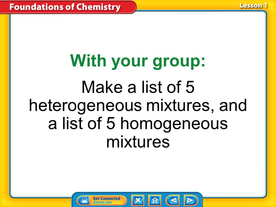Lesson 1-4 A homogeneous mixture is a type of mixture in which the individual substances are evenly mixed.homogeneous mixture In a homogeneous mixture, the particles of individual substances are so small and well-mixed that they are not visible, even with most high-powered microscopes.