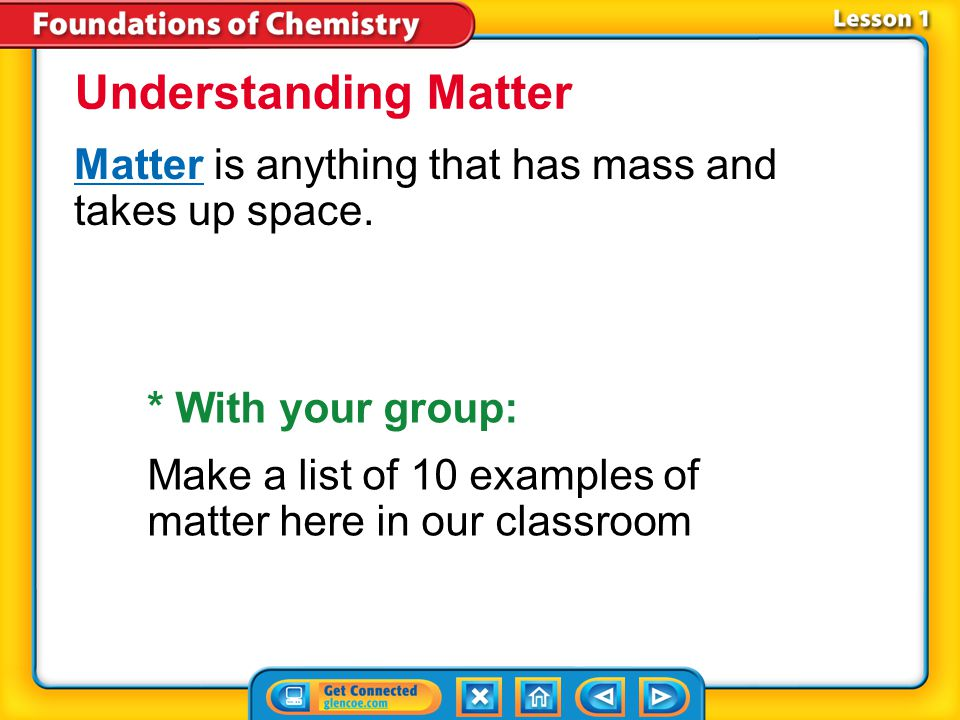 Lesson 1 Reading Guide - Vocab matter atom substance element compound Classifying Matter mixture heterogeneous mixtureheterogeneous mixture homogeneous mixturehomogeneous mixture dissolve