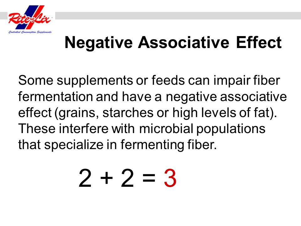 Some supplements or feeds can impair fiber fermentation and have a negative associative effect (grains, starches or high levels of fat). These interfe