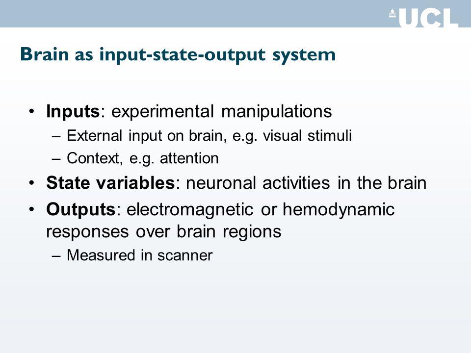 Brain as input-state-output system Inputs: experimental manipulations –External input on brain, e.g.
