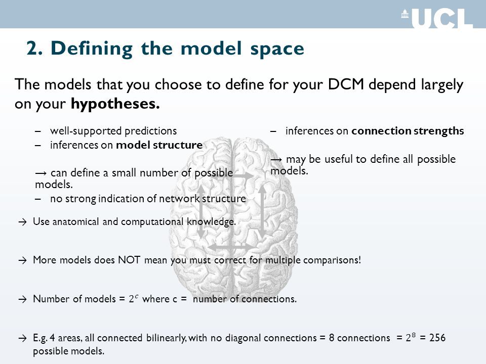 2. Defining the model space –well-supported predictions –inferences on model structure → can define a small number of possible models. –no strong indi