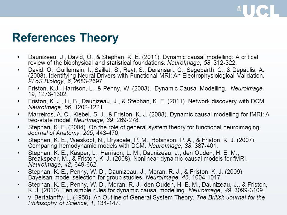References Theory Daunizeau, J., David, O., & Stephan, K.