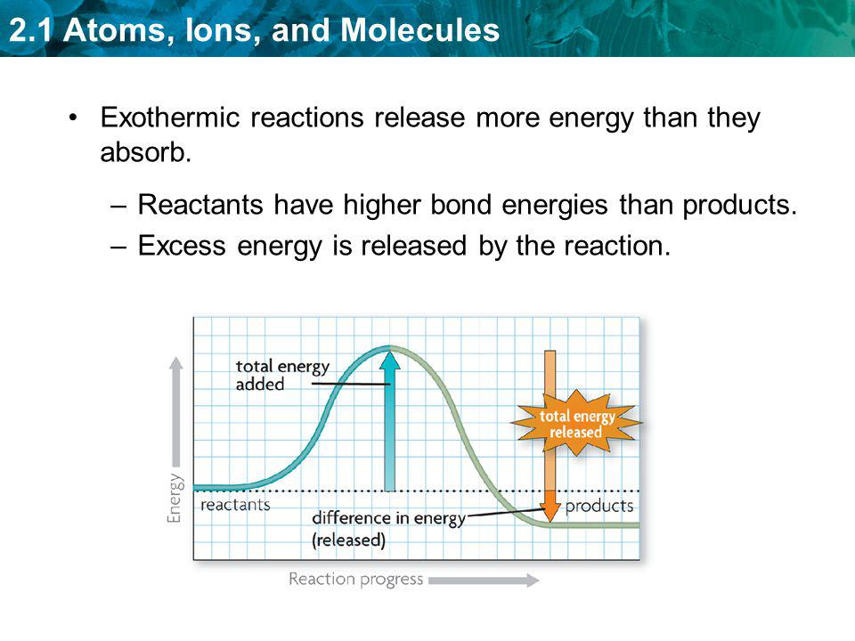 2.1 Atoms, Ions, and Molecules Exothermic reactions release more energy than they absorb. –Reactants have higher bond energies than products. –Excess