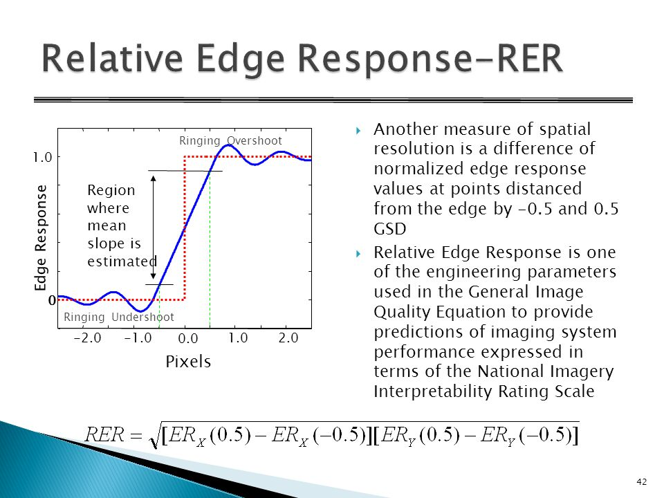  Another measure of spatial resolution is a difference of normalized edge response values at points distanced from the edge by -0.5 and 0.5 GSD  Relative Edge Response is one of the engineering parameters used in the General Image Quality Equation to provide predictions of imaging system performance expressed in terms of the National Imagery Interpretability Rating Scale -2.01.02.0 0 1.0 Ringing Overshoot Ringing Undershoot Region where mean slope is estimated Edge Response Pixels 0.0 42