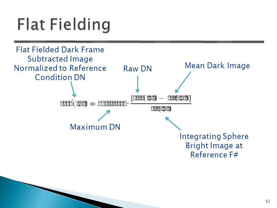Flat Fielded Dark Frame Subtracted Image Normalized to Reference Condition DN Raw DN Mean Dark Image Integrating Sphere Bright Image at Reference F# Maximum DN 52