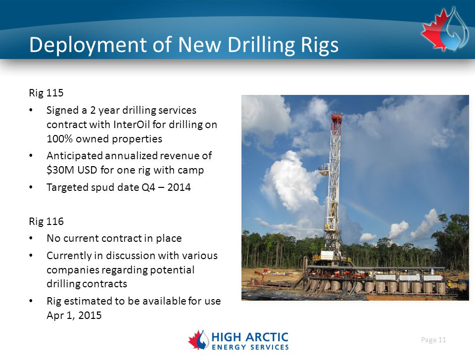 Page 11 Deployment of New Drilling Rigs Rig 115 Signed a 2 year drilling services contract with InterOil for drilling on 100% owned properties Anticipated annualized revenue of $30M USD for one rig with camp Targeted spud date Q4 – 2014 Rig 116 No current contract in place Currently in discussion with various companies regarding potential drilling contracts Rig estimated to be available for use Apr 1, 2015