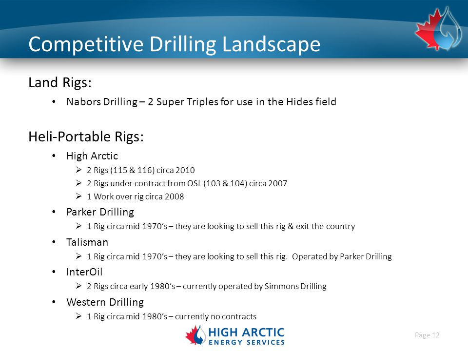 Page 12 Competitive Drilling Landscape Land Rigs: Nabors Drilling – 2 Super Triples for use in the Hides field Heli-Portable Rigs: High Arctic  2 Rigs (115 & 116) circa 2010  2 Rigs under contract from OSL (103 & 104) circa 2007  1 Work over rig circa 2008 Parker Drilling  1 Rig circa mid 1970's – they are looking to sell this rig & exit the country Talisman  1 Rig circa mid 1970's – they are looking to sell this rig.