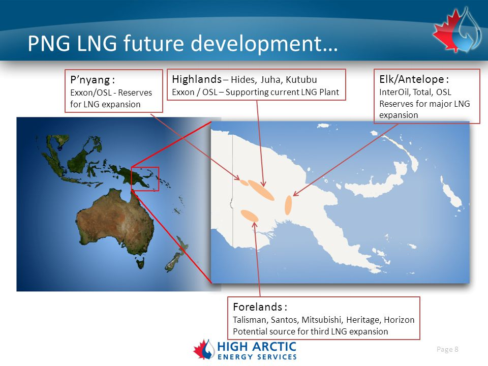 Page 8 PNG LNG future development… Elk/Antelope : InterOil, Total, OSL Reserves for major LNG expansion Highlands – Hides, Juha, Kutubu Exxon / OSL – Supporting current LNG Plant P'nyang : Exxon/OSL - Reserves for LNG expansion Forelands : Talisman, Santos, Mitsubishi, Heritage, Horizon Potential source for third LNG expansion