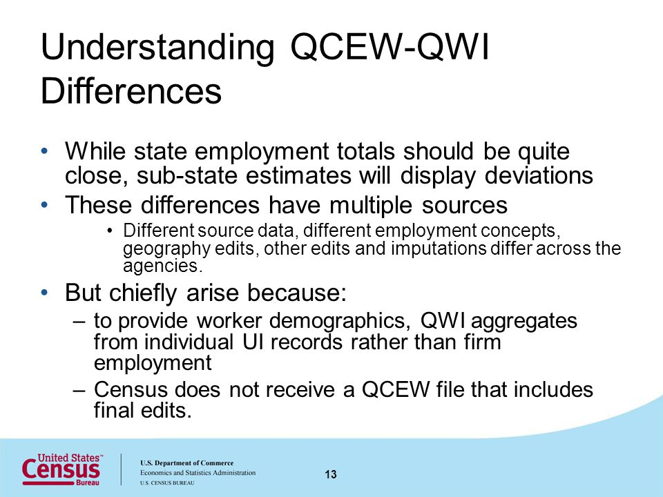 Understanding QCEW-QWI Differences While state employment totals should be quite close, sub-state estimates will display deviations These differences have multiple sources Different source data, different employment concepts, geography edits, other edits and imputations differ across the agencies.