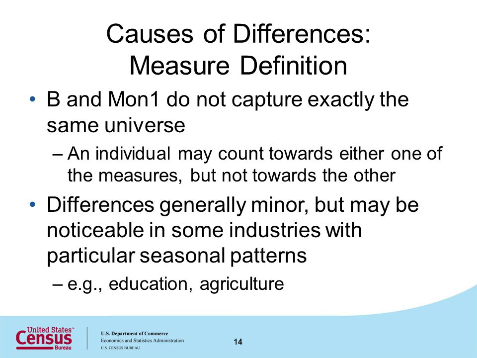 Causes of Differences: Measure Definition B and Mon1 do not capture exactly the same universe –An individual may count towards either one of the measures, but not towards the other Differences generally minor, but may be noticeable in some industries with particular seasonal patterns –e.g., education, agriculture 14