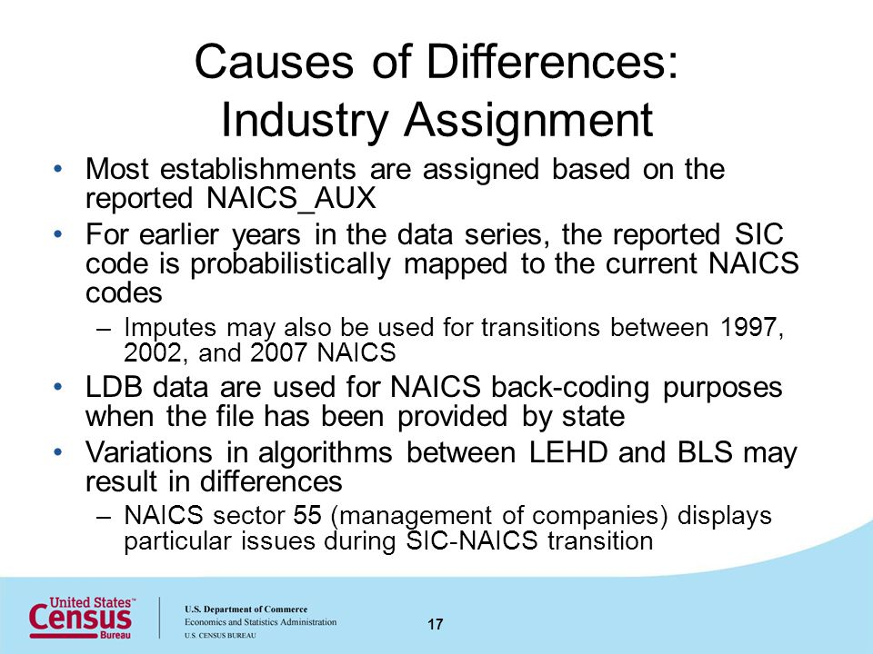 Causes of Differences: Industry Assignment Most establishments are assigned based on the reported NAICS_AUX For earlier years in the data series, the reported SIC code is probabilistically mapped to the current NAICS codes –Imputes may also be used for transitions between 1997, 2002, and 2007 NAICS LDB data are used for NAICS back-coding purposes when the file has been provided by state Variations in algorithms between LEHD and BLS may result in differences –NAICS sector 55 (management of companies) displays particular issues during SIC-NAICS transition 17