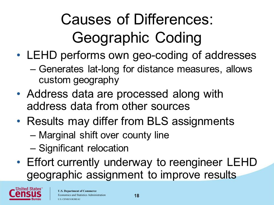 Causes of Differences: Geographic Coding LEHD performs own geo-coding of addresses –Generates lat-long for distance measures, allows custom geography Address data are processed along with address data from other sources Results may differ from BLS assignments –Marginal shift over county line –Significant relocation Effort currently underway to reengineer LEHD geographic assignment to improve results 18