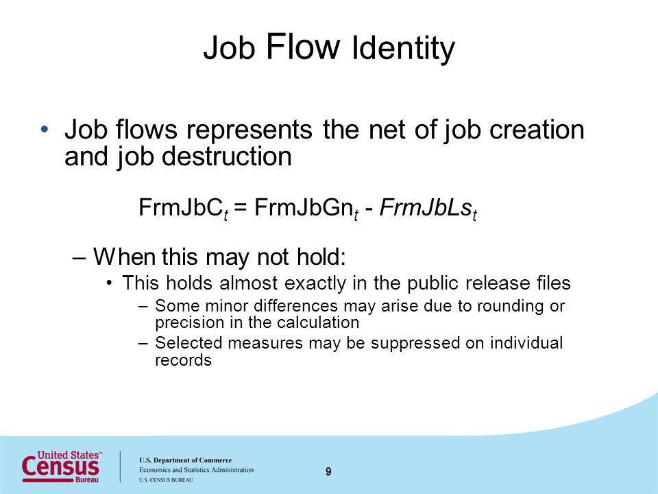 Job Flow Identity Job flows represents the net of job creation and job destruction FrmJbC t = FrmJbGn t - FrmJbLs t –When this may not hold: This hold