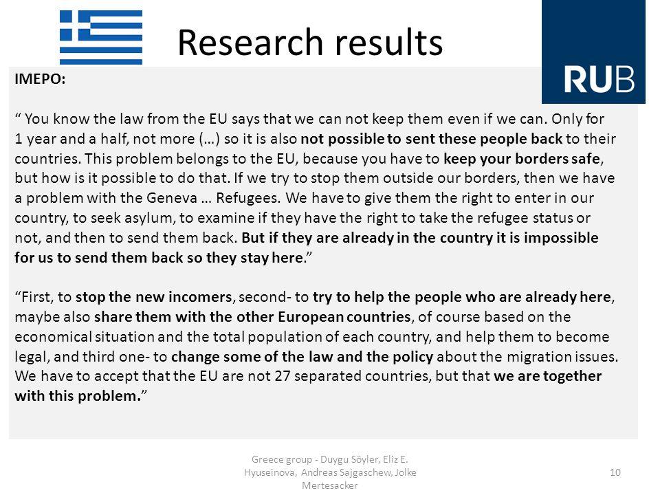 Research results Greece group - Duygu Söyler, Eliz E.