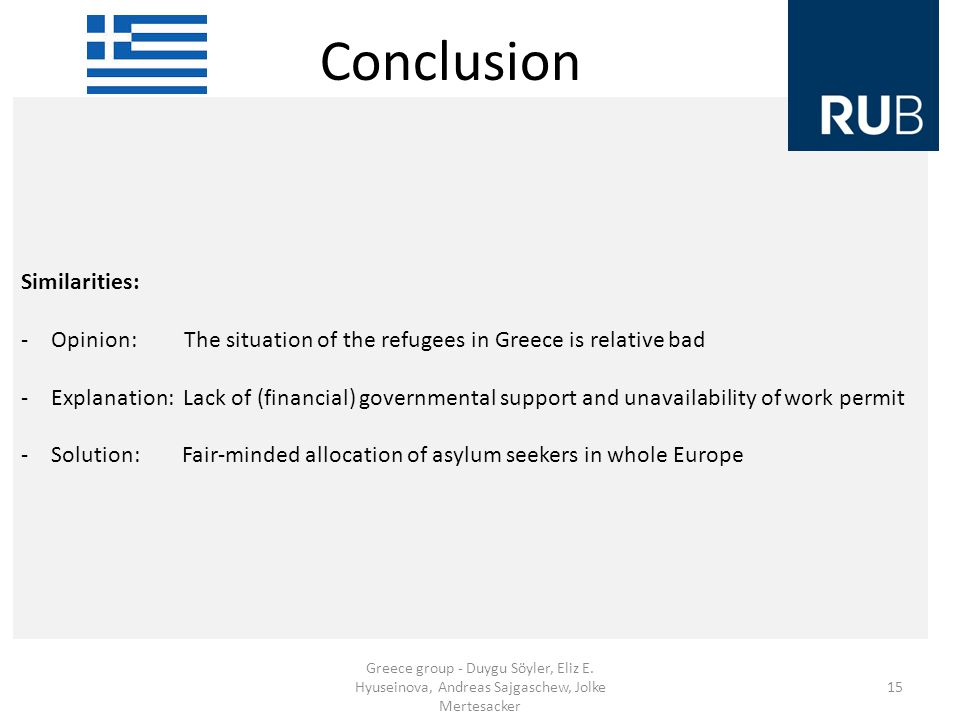 Conclusion Similarities: -Opinion: The situation of the refugees in Greece is relative bad -Explanation: Lack of (financial) governmental support and unavailability of work permit -Solution: Fair-minded allocation of asylum seekers in whole Europe Greece group - Duygu Söyler, Eliz E.