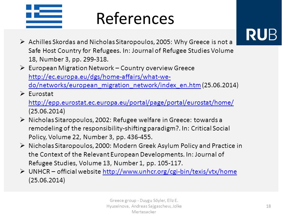References Greece group - Duygu Söyler, Eliz E.