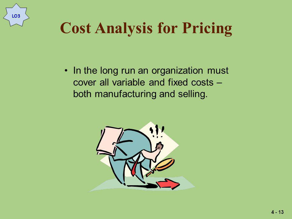 Cost Analysis for Pricing In the long run an organization must cover all variable and fixed costs – both manufacturing and selling.