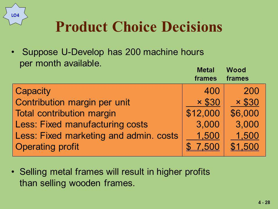 Product Choice Decisions Suppose U-Develop has 200 machine hours per month available.