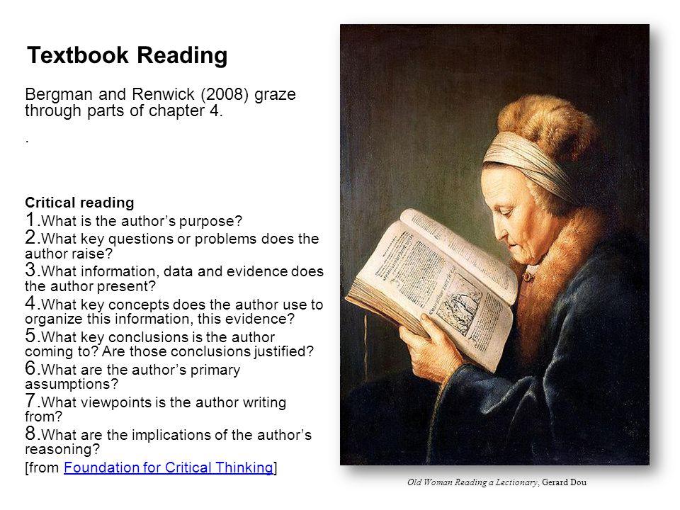 Textbook Reading Bergman and Renwick (2008) graze through parts of chapter 4..