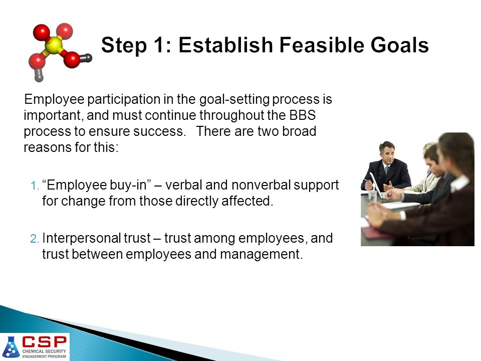 Employee participation in the goal-setting process is important, and must continue throughout the BBS process to ensure success.
