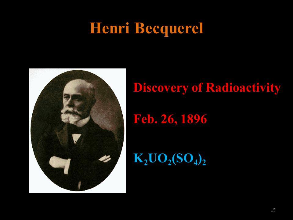 Henri Becquerel Discovery of Radioactivity Feb. 26, 1896 K 2 UO 2 (SO 4 ) 2 15