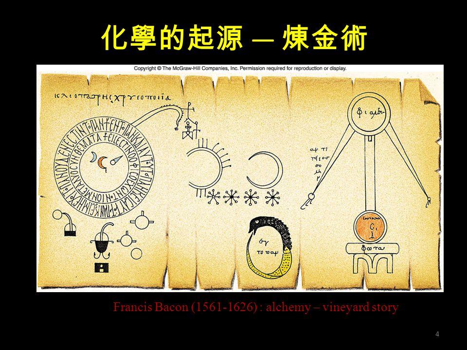 化學的起源 — 煉金術 Francis Bacon (1561-1626) : alchemy – vineyard story 4