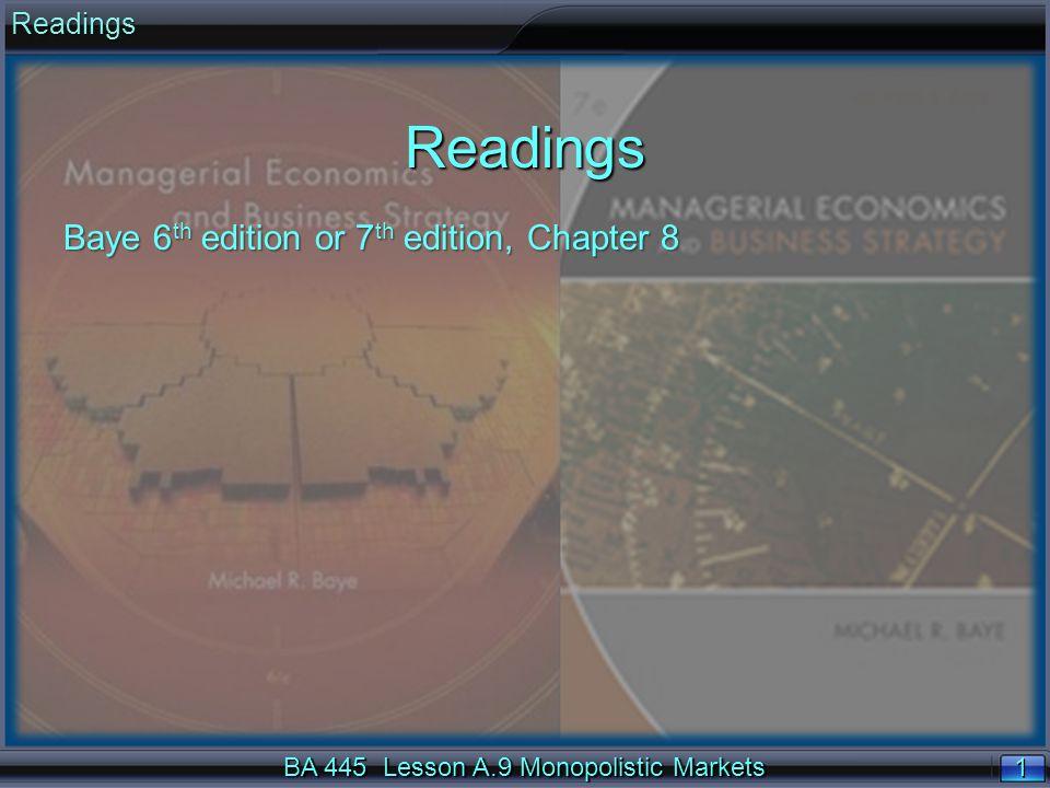 22 $ Q ATC MC D MR QMQM PMPM MC Deadweight Loss of Monopoly BA 445 Lesson A.9 Monopolistic Markets Inefficient Output