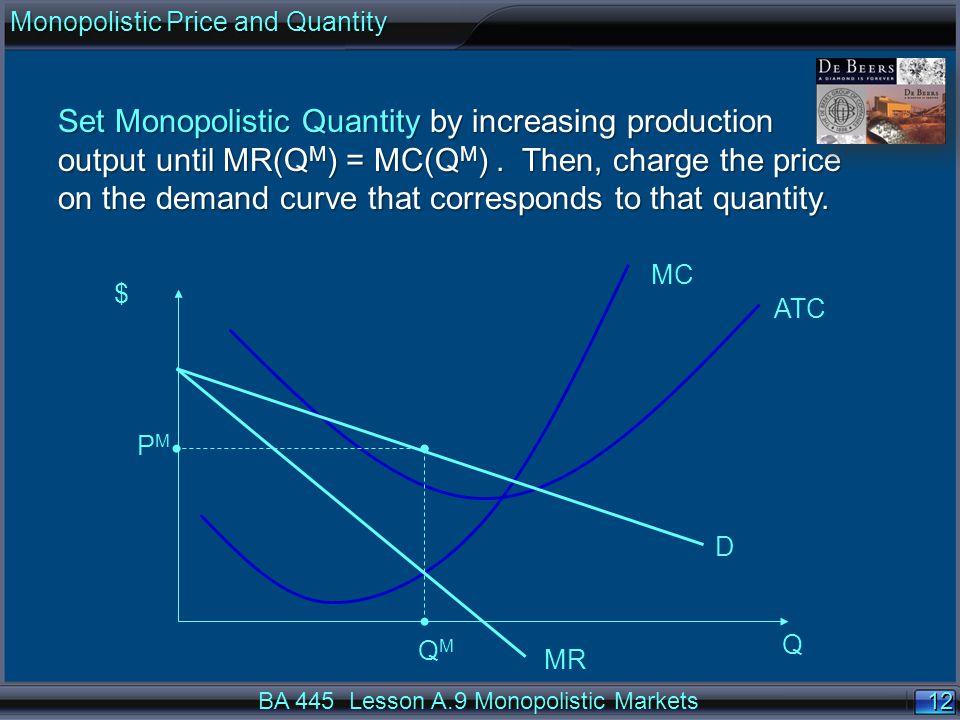 12 $ Q ATC MC D MR QMQM PMPM Set Monopolistic Quantity by increasing production output until MR(Q M ) = MC(Q M ).