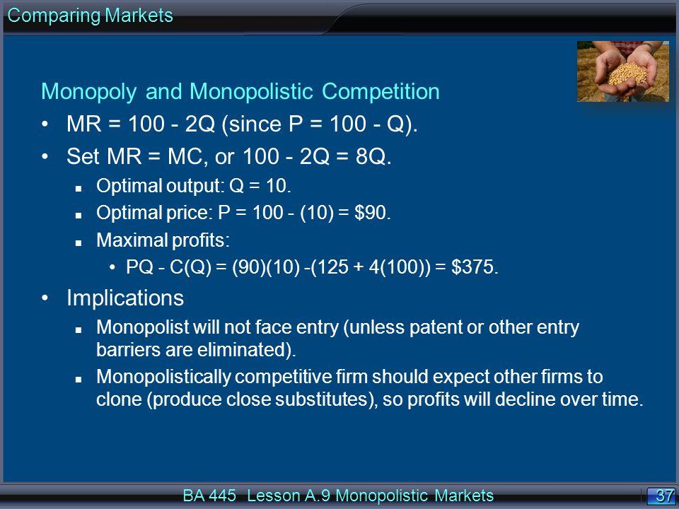 37 Monopoly and Monopolistic Competition MR = 100 - 2Q (since P = 100 - Q).