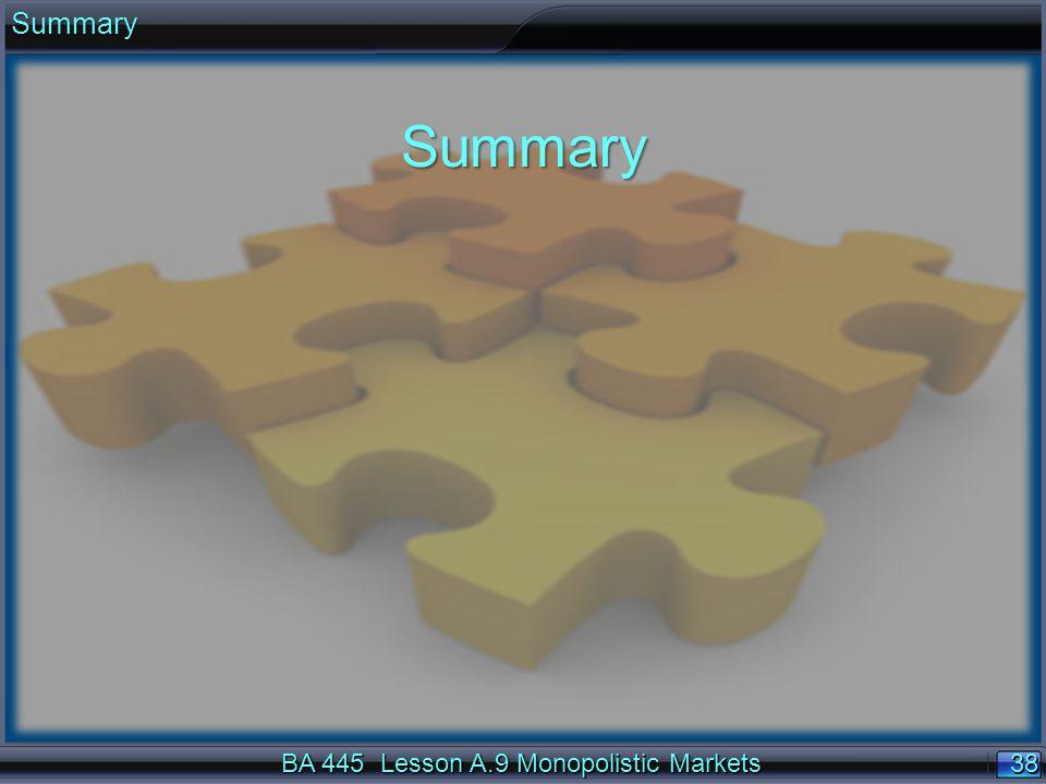 38 BA 445 Lesson A.9 Monopolistic Markets SummarySummary