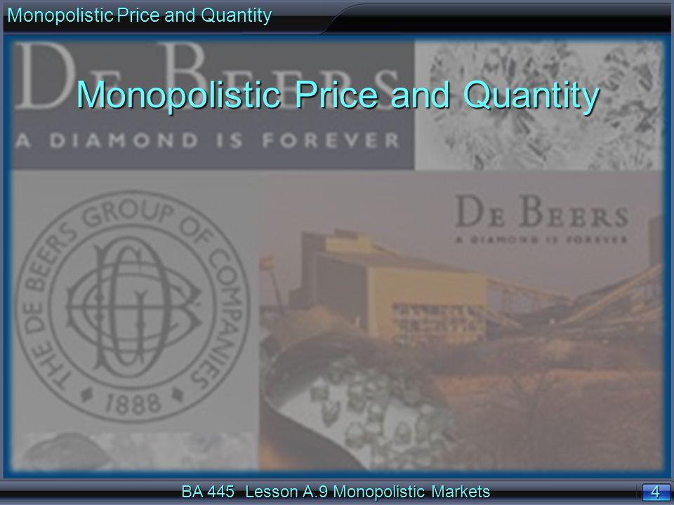 4 4 BA 445 Lesson A.9 Monopolistic Markets Monopolistic Price and Quantity