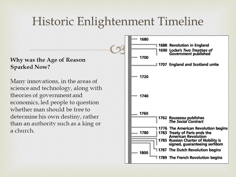  Historic Enlightenment Timeline Why was the Age of Reason Sparked Now.